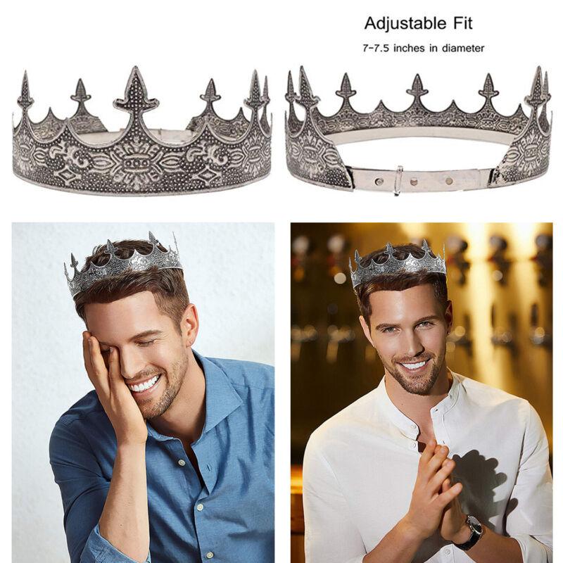 Antique Silver King Crown Mens Royal Tiara Crown Adjustable Full Round Birthday