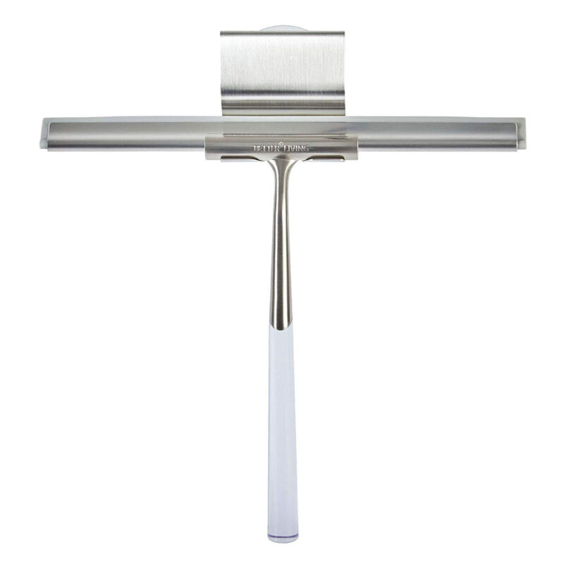 Better Living Linea Rust Proof Stainless Steel Shower Squeegee with Suction Hook