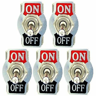 5 X Spst 2pin Heavy Duty 20a 125v Onoff Rocker Toggle Switch Waterproof Boot Us