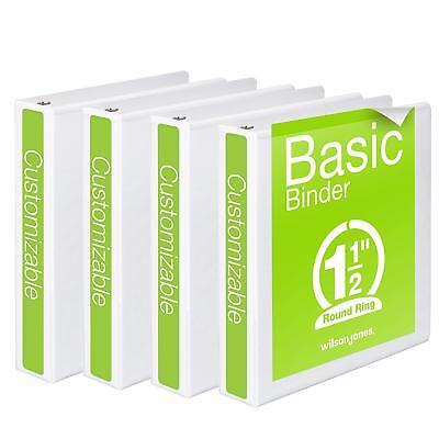 Wilson Jones 1-12 Inch 3 Ring Binders Basic Round View White 4 Pack