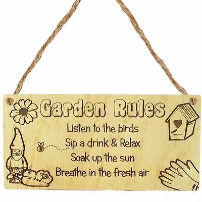 Garden Rules Novelty Hanging Plaque Friendship Gift SummerHouse Sign Garden Shed