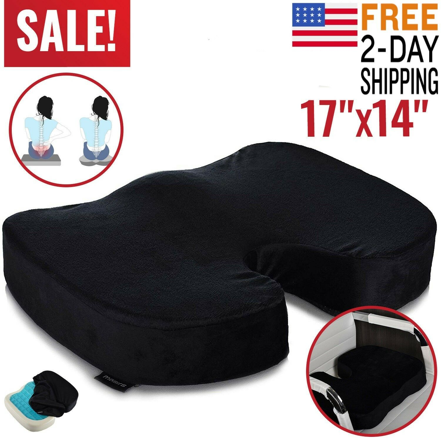 Memory Foam Office Chair Cushion Car Seat Pillow Coccyx Orth