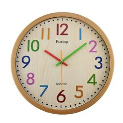 Foxtop 12.5 Inch Silent Non-ticking Colorful Wall Clock Large Decorative Vintage