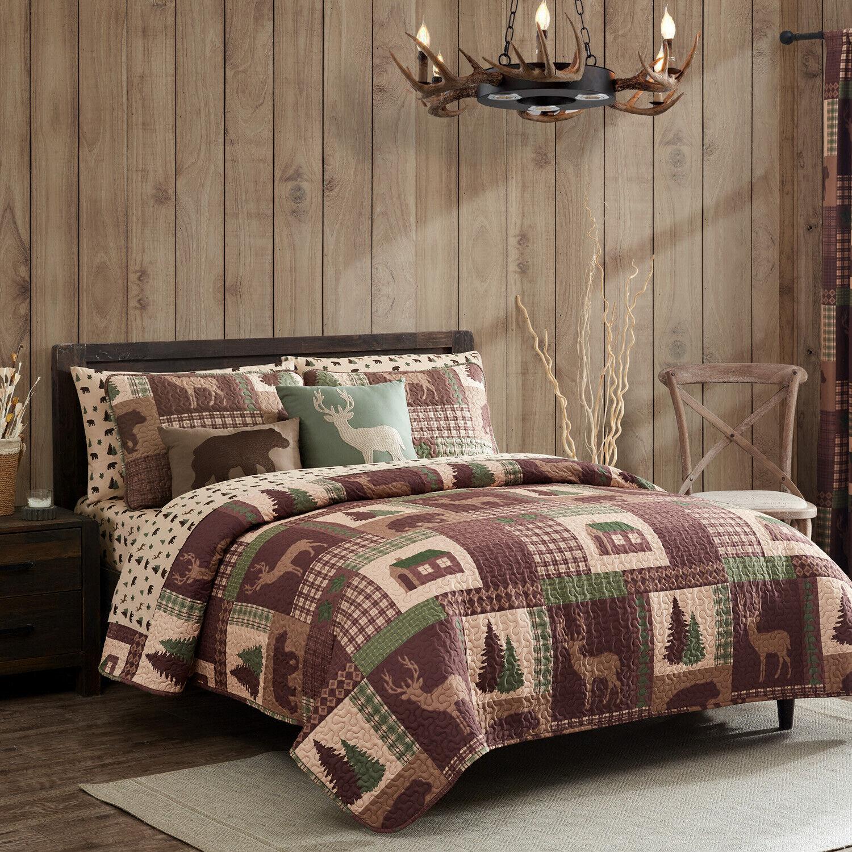 King, Queen, or Twin Quilt Set Rustic Cabin Lodge Deer Bear Coverlet Bedspread Bedding