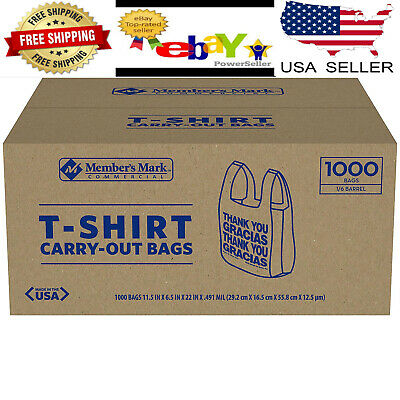 T Shirt Bags 1000 Ct Plastic Grocery Shopping Carry Out Thank You 11.5 X 6.5 X22