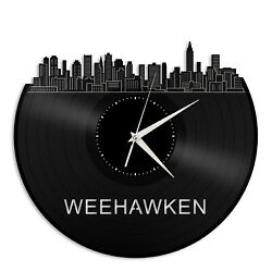 Weehawken Vinyl Wall Clock Skyline Exclusive Gift for Friends Home Decoration