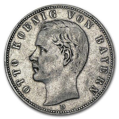 Bavaria 5 Mark Silver Coin - Random Year - Otto