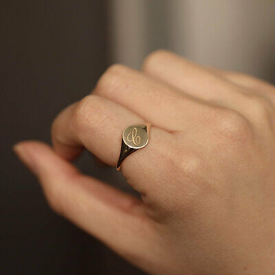 10K 14K Solid Gold Oval Signet Ring Personalized Initial Monogram Stacking Ring - Gold Oval Signet Ring