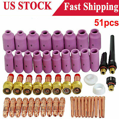 Tig Gas Lens Collet Body Consumables Kit Fit Wp 171826 Tig Welding Torch 51pcs