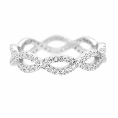 Twisted Cubic Zirconia Eternity .925 Sterling Silver Ring Cubic Zirconia Twist Ring