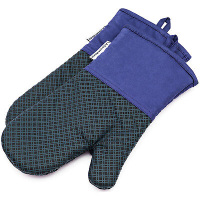 Silicone Oven Mitts Heat Resistant Mitten Kitchen BBQ Cooking Gloves 2PCs Blue