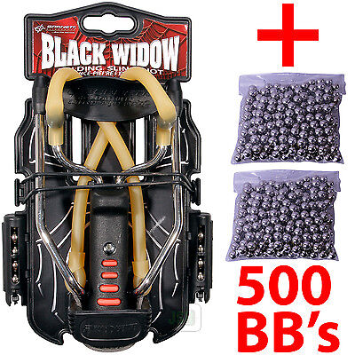 Barnett BLACK WIDOW Powerful Hunting Slingshot Catapult + 500 x 6.35mm BB Ammo