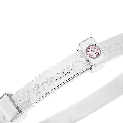 Silver 925 PRINCESS Baby Bangle Bracelet with Pink CZ, Baptism Christening Gift