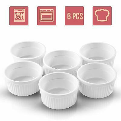 Porcelain Ramekin Cup 6 Piece Set for Baking 4 Oz. Bowls