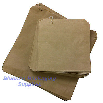 100 x Kraft Brown Paper Food Bags Strung 8.5