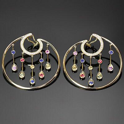 Stunning CHANEL La Pluie Diamond Sapphire 18k Yellow Gold Hoop Earrings