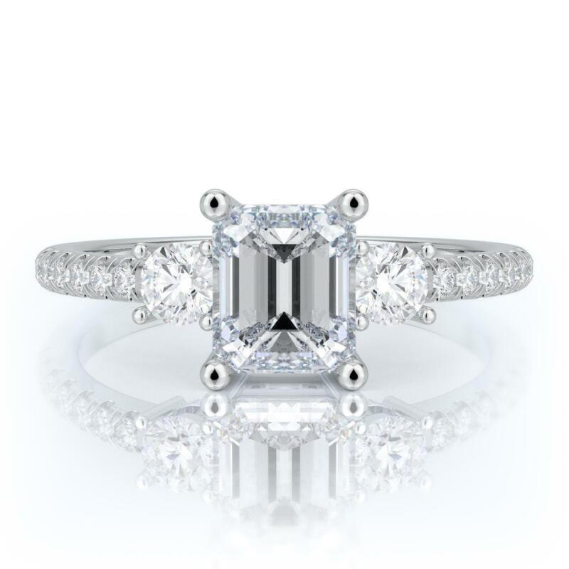 2.00 Ct E Vs2 Emerald Cut Diamond Engagement Ring Set In 14k White Gold
