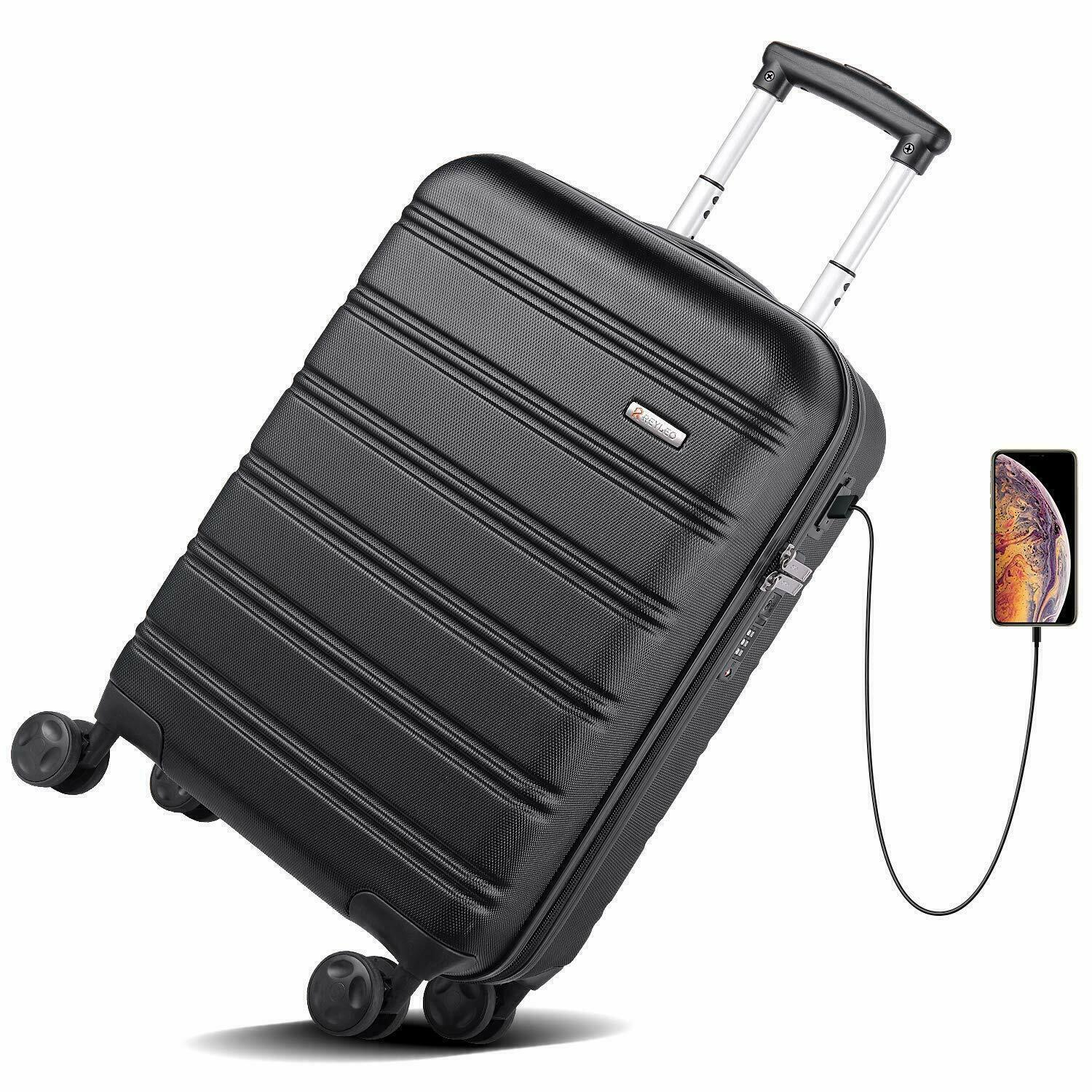 usb charging luggage 20in pc abs carry