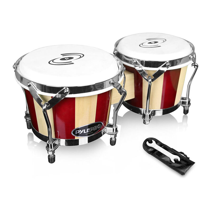 Pyle Handcrafted 6.5 and 7.5 Inch Birch Wood Bongo Drums Pair w/ Tuning Key
