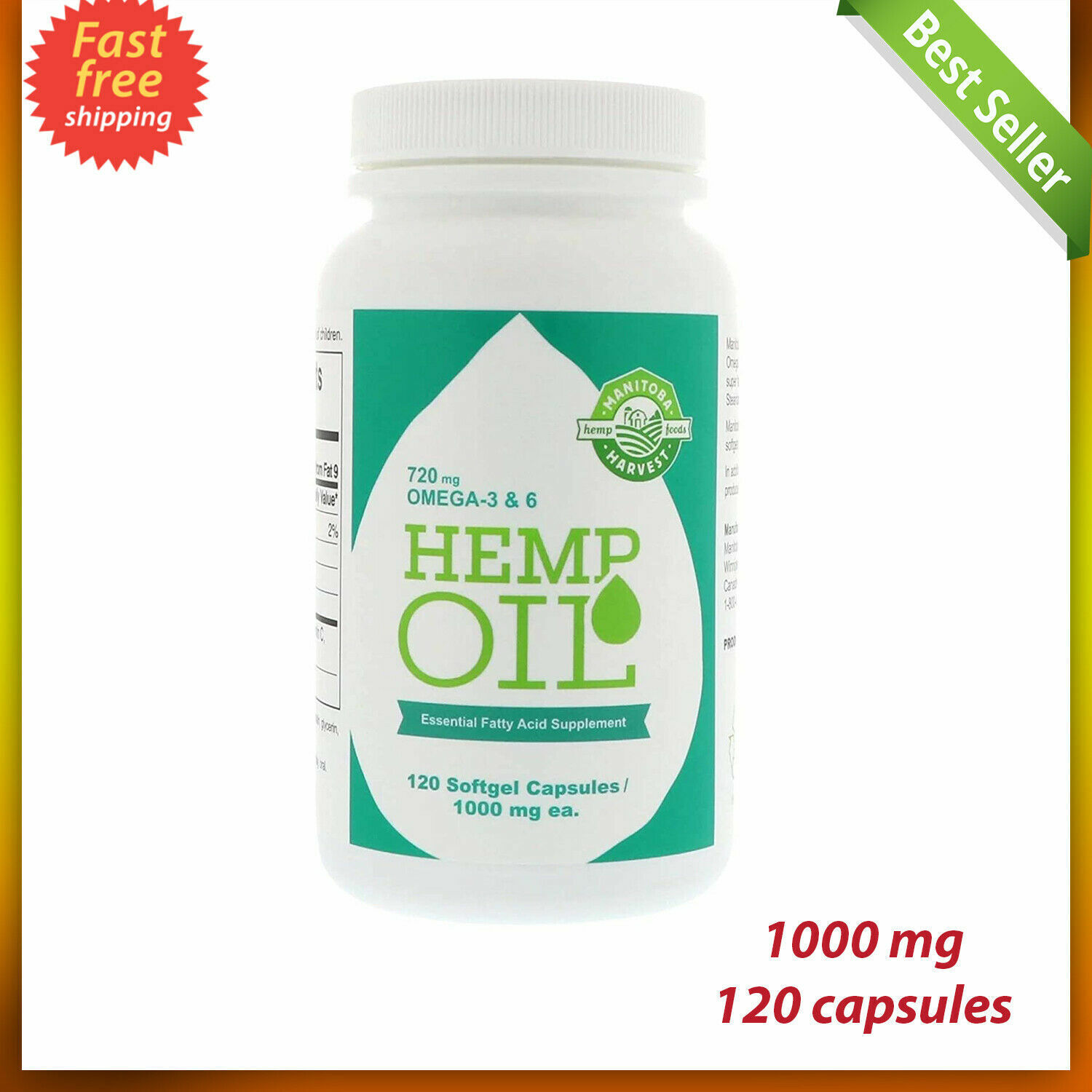 120 Softgel Capsules Manitoba Harvest Seed Oil 1000mg LARGE Omegas 3,6 & 9 New