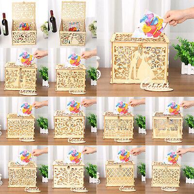 DIY Wedding Gift Card Box Wooden Money Box with Lock Box Kit Wedding Party Decor](Wedding Money Box)