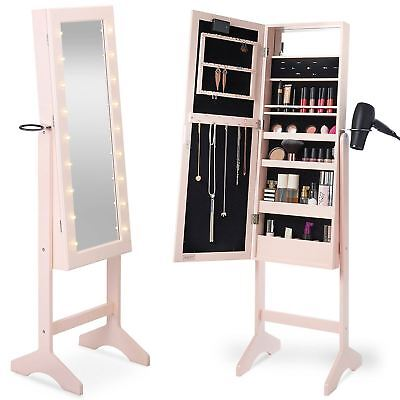 Pink Free Standing LED Light Up Mirror and Jewellery Storage Cabinet Organiser