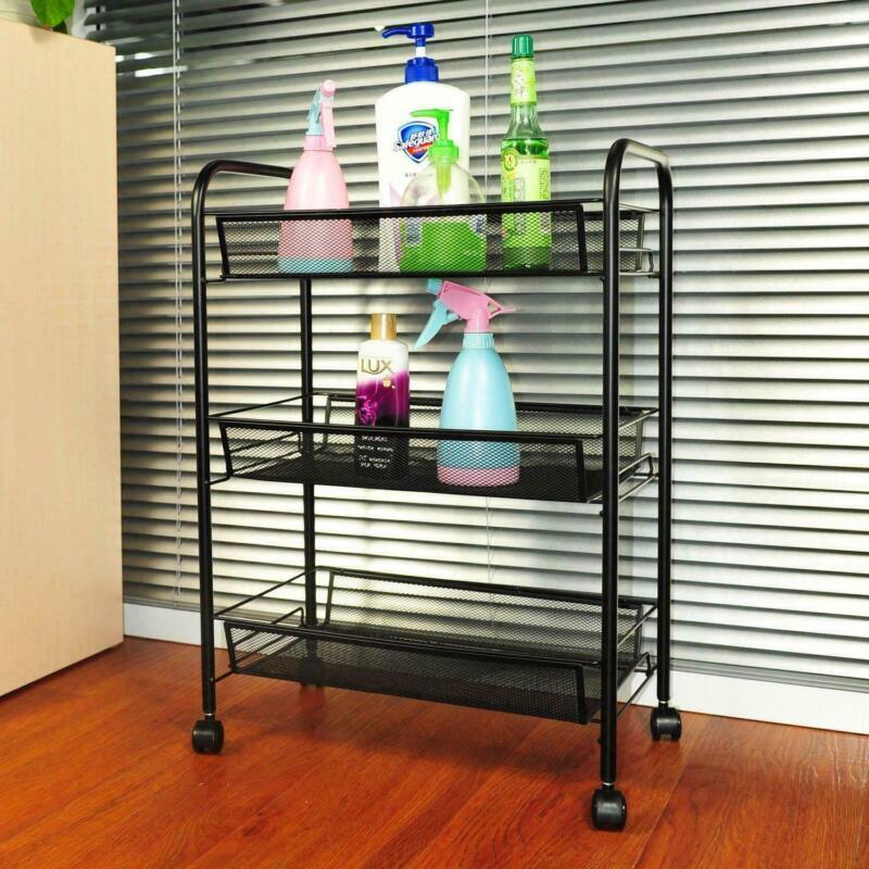 High Quality 3-Tier Mesh Storage Rolling Cart Shelf Trolley Organizer Rack Wheel