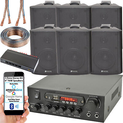 3 Zona Altavoz Bluetooth Kit – 6x 70W Negro Montaje Pared –...