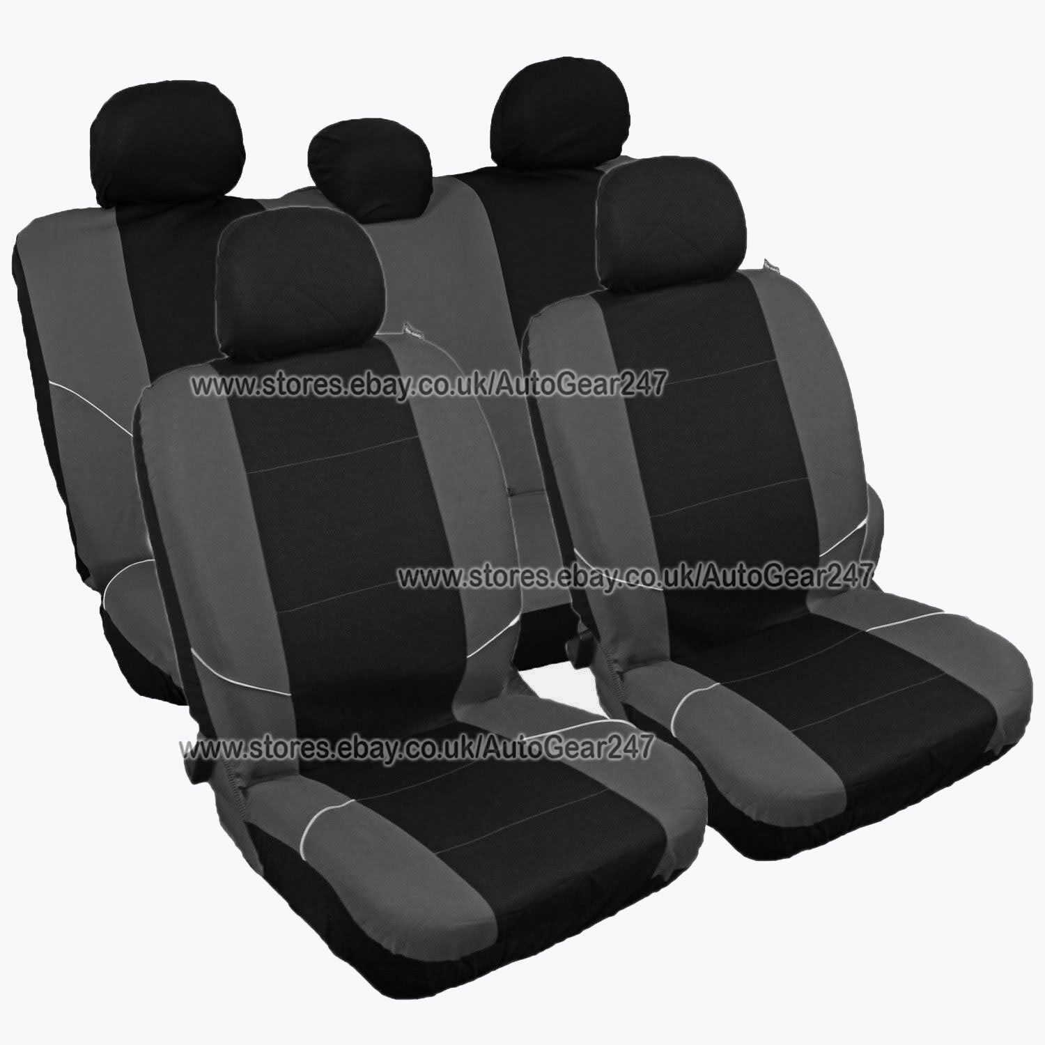 universal black grey front rear car seat covers set washable airbag compatible ebay. Black Bedroom Furniture Sets. Home Design Ideas