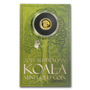 2013 1/2 gram Gold Australian Mini Koala Coin - Display Card - SKU #77514