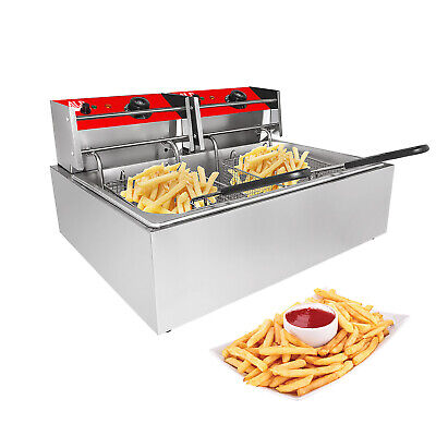 Double Deep Fryer 2-basket Fryer For Commercial Use Stainless Steel 12l