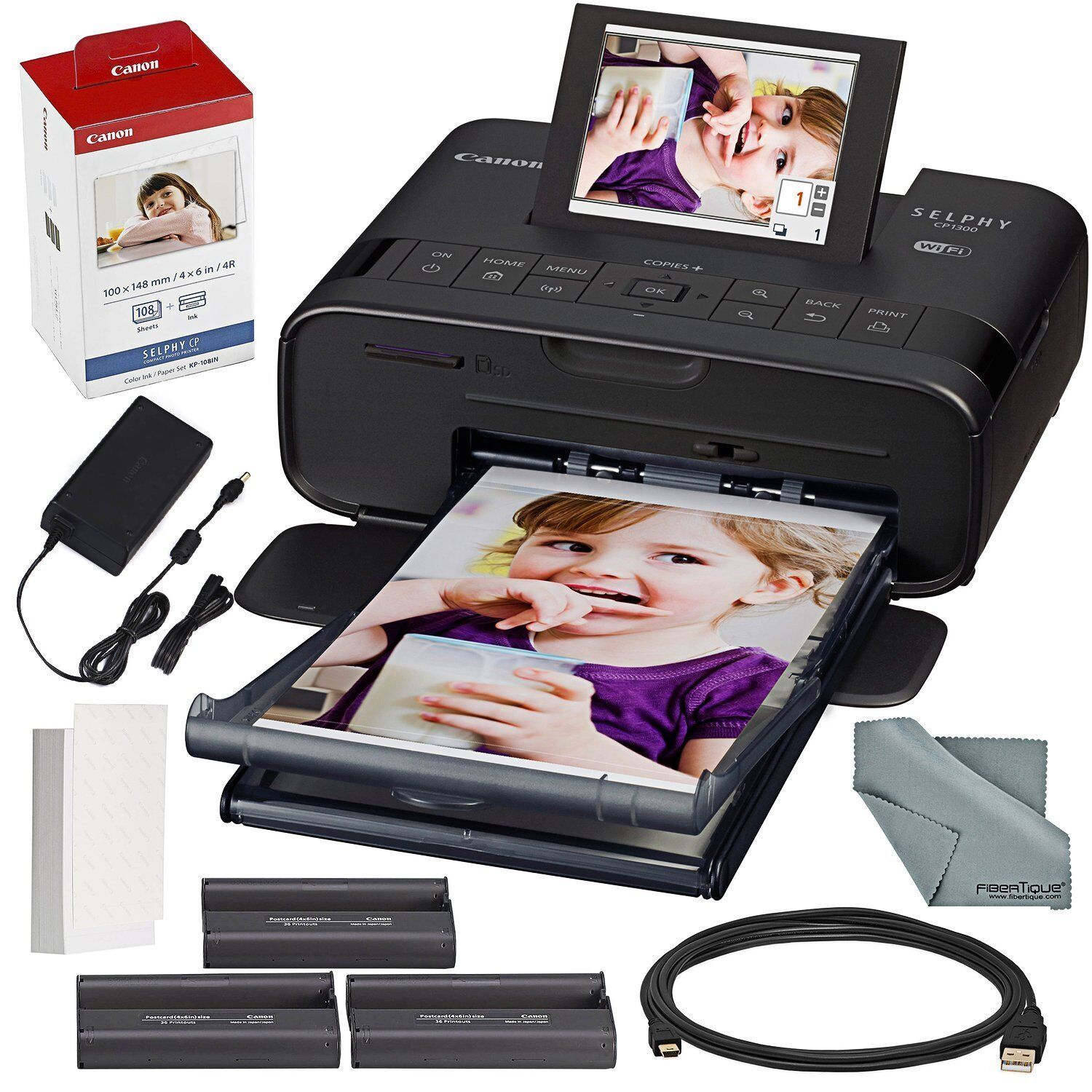 Canon - SELPHY CP1300 Wireless Compact Photo Printer - Black
