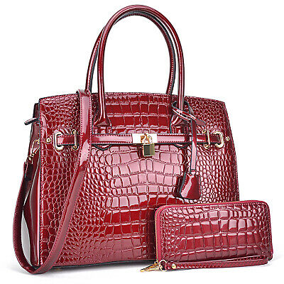 Dasein Women Handbag Croco Patent Leather Medium Satchel plus Matching Wallet