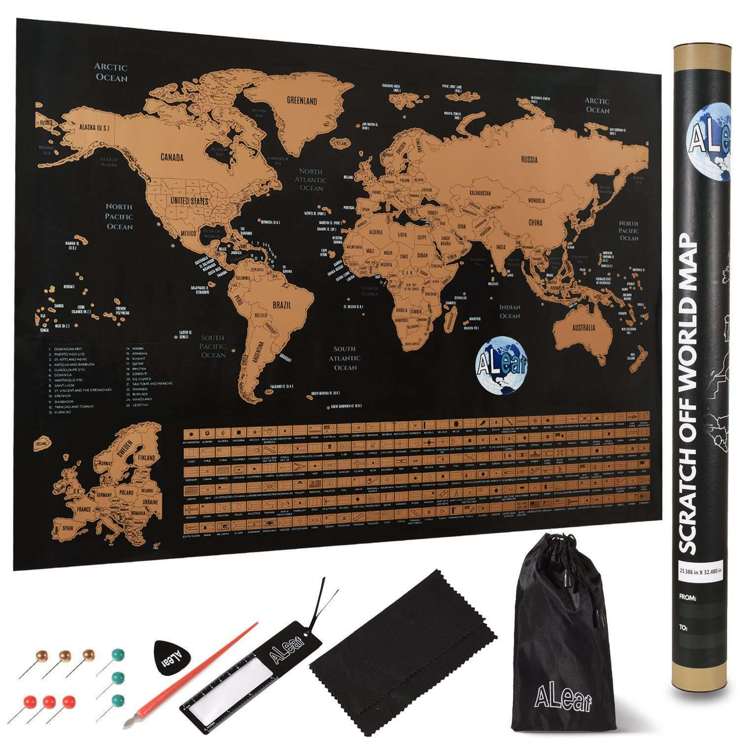 ALeaf Scratch Off World Map Wall Poster
