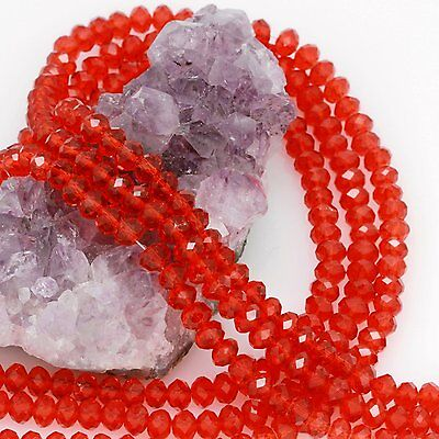 95 pcs 6mm Chinese Crystal Glass Loose Beads Faceted Red Quartz