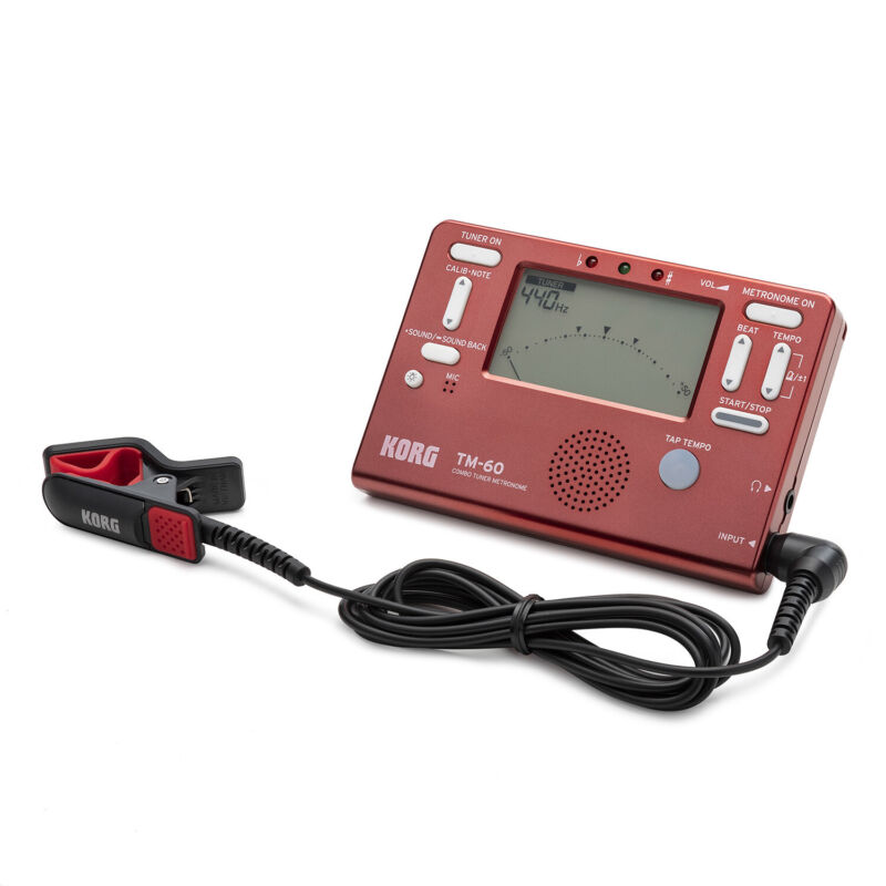 Korg TM-60 Tuner and Metronome Combo with Clip on Microphone Red