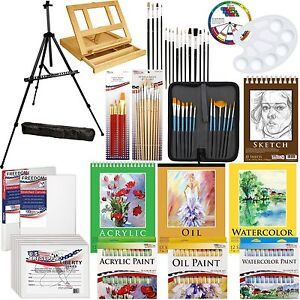 Art Painting Kit - 133pc Artist Paint Set with Easel, Canvas, Paint & Brushes