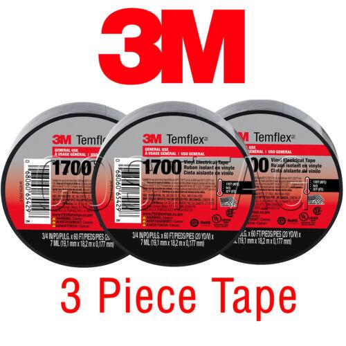 3 ROLLS - 3M ELECTRICAL TAPE UL, BLACK 3/4'' x 60 FT GENUINE TEMELEX 1700