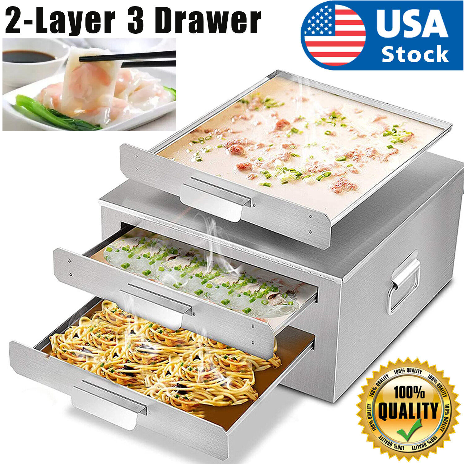 2-layer steamer drawers food steaming cooking baking rice noodle roll machine US Home & Garden