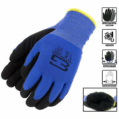Safety Winter Insulated Double Lining Rubber Coated Work Gloves -bgwans-blue