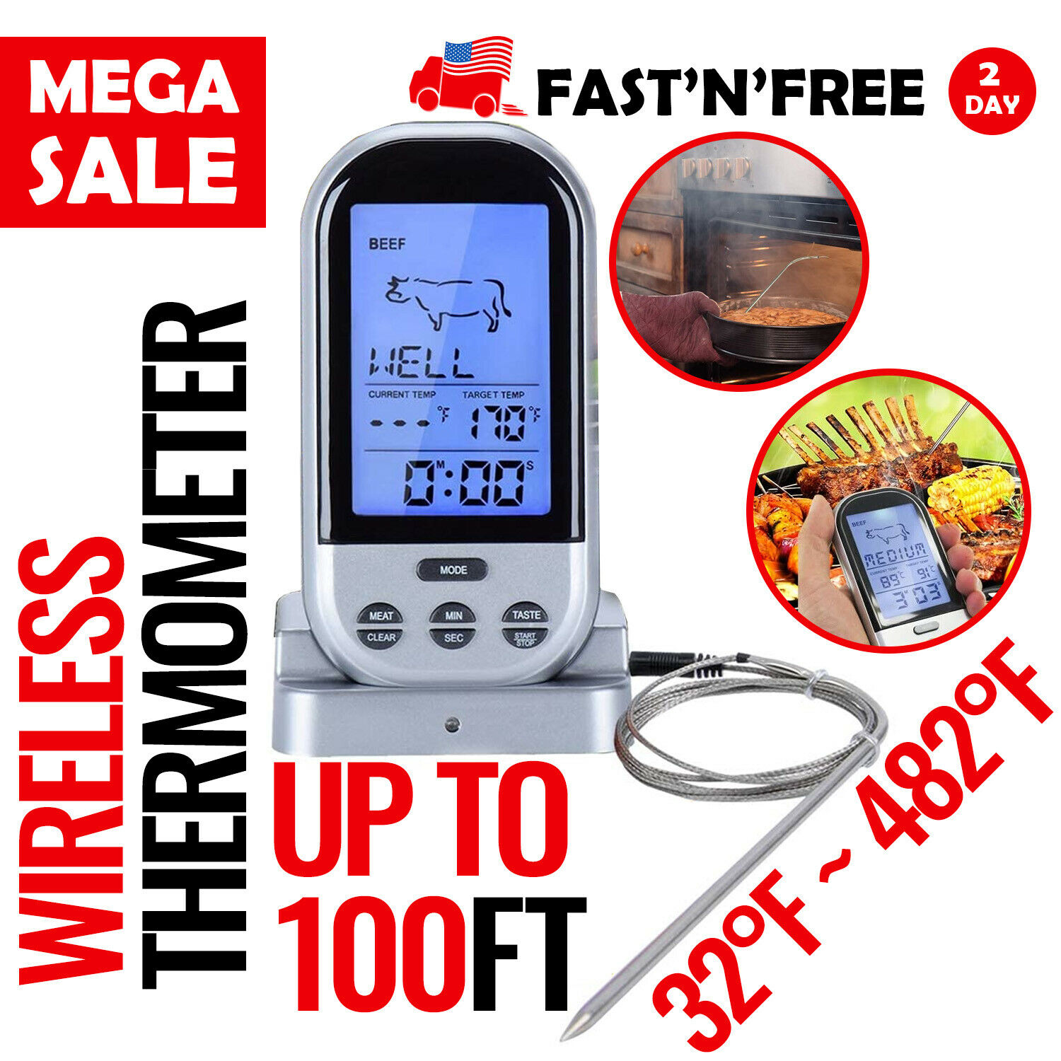 Meat Thermometer Wireless Digital Meat Probe Kitchen Instant