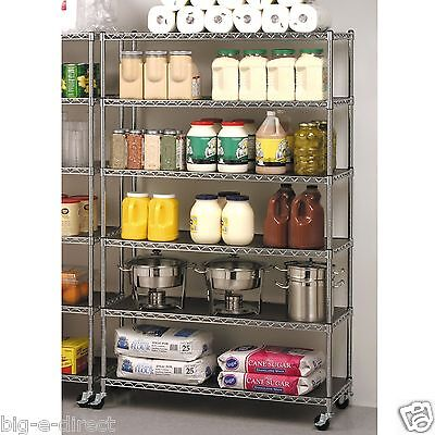 Seville Rolling Garage Commercial Retail Metal Storage Shelving Rack 3  Wheels