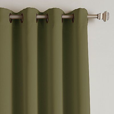BEST HOME FASHION THERMAL INSULATED BLACKOUT GROMMET CURTAIN PANEL 52x63 OLIVE