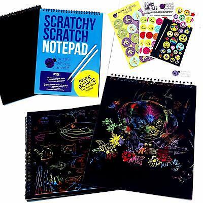 Rainbow Scratch Paper Art Kit for Kids: 20 BIG Sheets of Rainbow Color - Scratch Paper Art