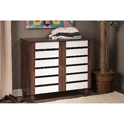 Wood Shoe Cabinet Storage Rack Organizer Entryway Shelves Closet Home Furniture