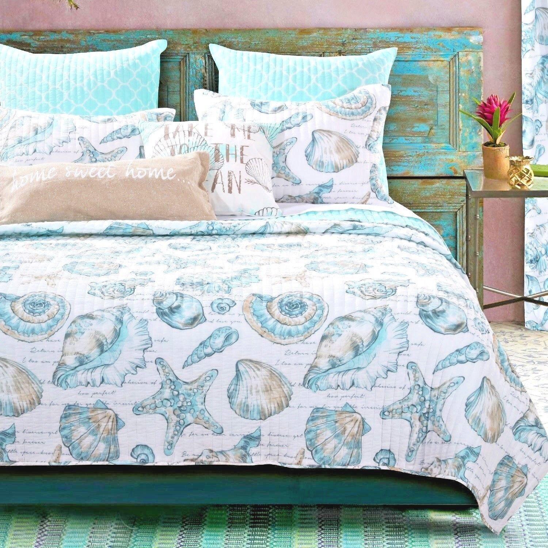 Quilt Bedding Set Twin Beach Theme Blue White Coastal Shell