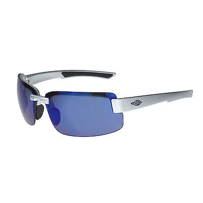 Crossfire By Radians 442208 Es6 Safety Glasses Silver Gloss Wblue Mirror Lens