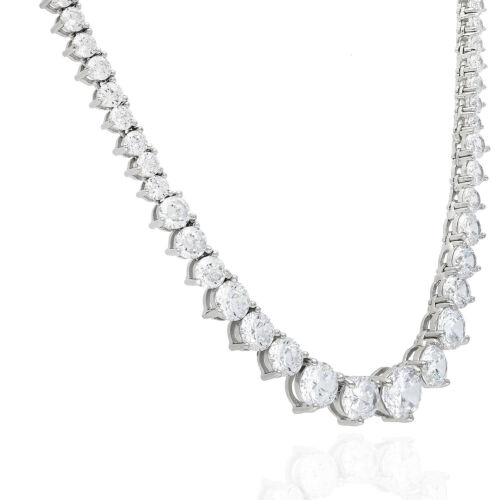 52Ct. Created Diamond White Gold Over Silver Graduated Tennis Necklace 16 3