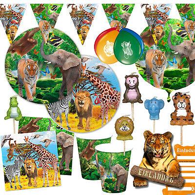 ZOO SAFARI - Geschirr Deko Dschungel Kinder Geburtstag Jungle Mitgebsel Zootiere