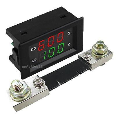 0.39 Dual Led Digital Dc600v 100a Voltmeter Ammeter Voltage Amps Meter Shunt